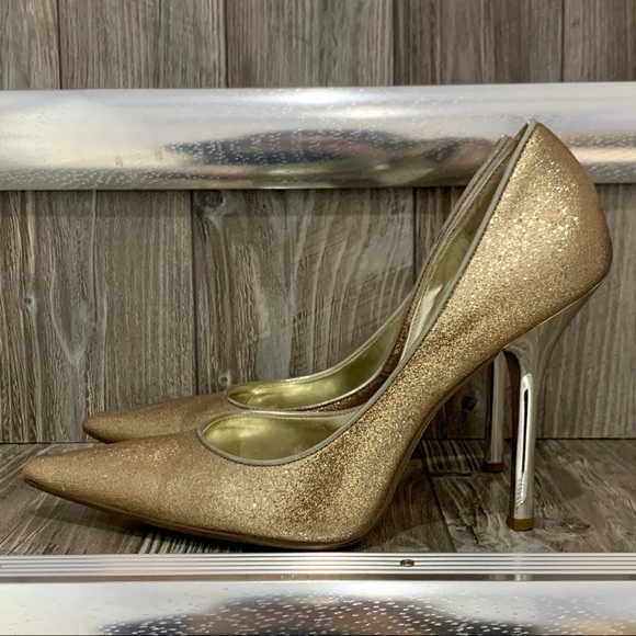 Guess | Gold Sparkly Pointed Toe Stiletto Heels